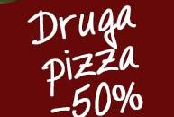 W każdą środę przy zamówieniu dwóch dużych pizz, druga pizza 50% taniej.