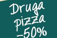 W każdą środę przy zamówieniu dwóch małych pizz, druga pizza 50% taniej.