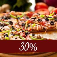 W poniedziałek 30% rabatu na wszystkie pizze na miejscu - w lokalu