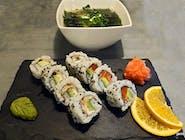1 - URAMAKI LUNCH - 8 szt + zupa MISOSHIRU gratis